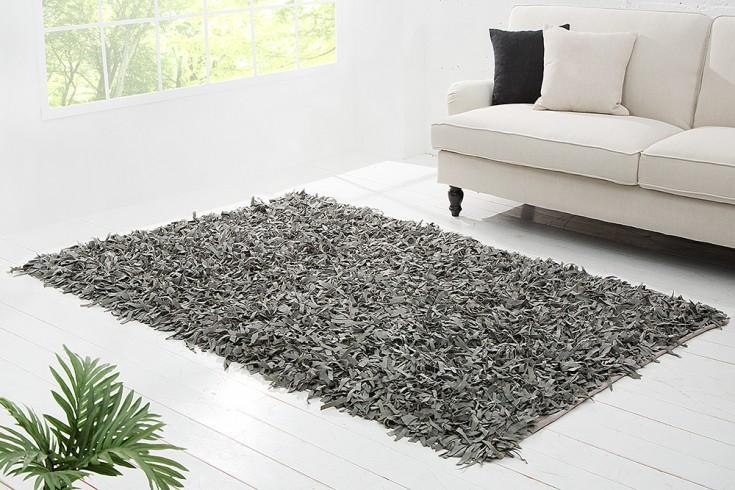 Design Vintage Teppich WILD WEST 200x140cm grau Echt Leder