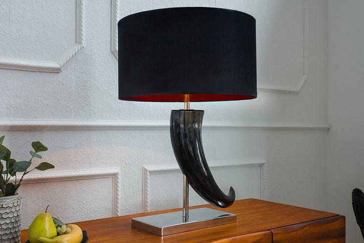 Design Tischleuchte ELEGANZ 65cm schwarz mit Naturhorn des Wasserbüffels