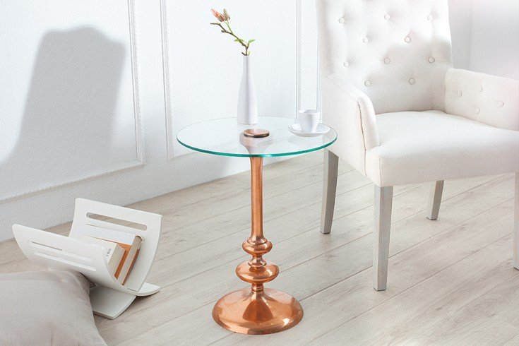 filigraner beistelltisch flute rund kupfer glasplatte. Black Bedroom Furniture Sets. Home Design Ideas