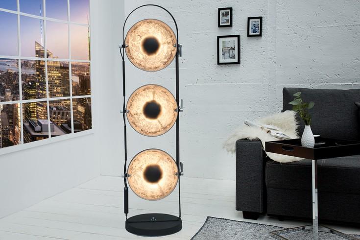 Design Stehlampe STUDIO 3 Lampenschirme schwarz silber Lampe