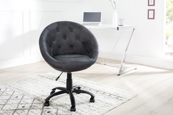 Design Bürosessel COUTURE antik grau mit Rollen höhenverstellbar im Loungedesign