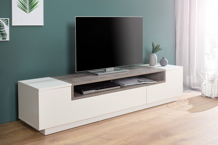 Modernes TV-Board Lowboard EMPIRE  180cm edelmatt weiß Beton-Optik