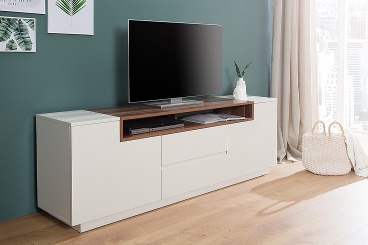 Modernes Media TV-Board LOFT 180cm edelmatt weiß Walnussholz-Optik