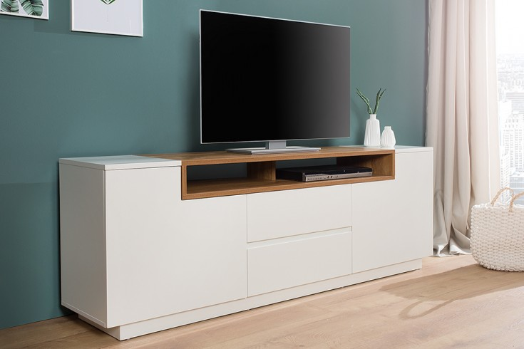 Elegantes Media-TV-Board EMPIRE 180cm edelmatt weiß Eichenholz-Optik