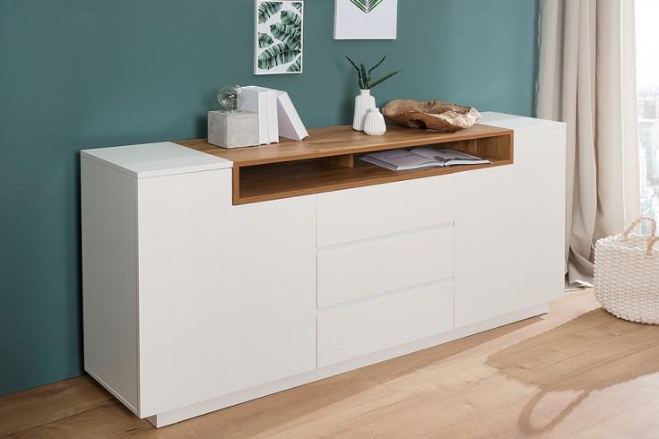 Modernes Sideboard LOFT 180cm edelmatt weiß Eichenholz-Optik