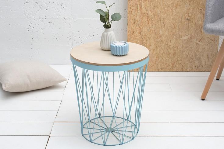 Design Beistelltisch STORAGE II 37cm blau Eiche Aufbewahrungskorb Couchtisch