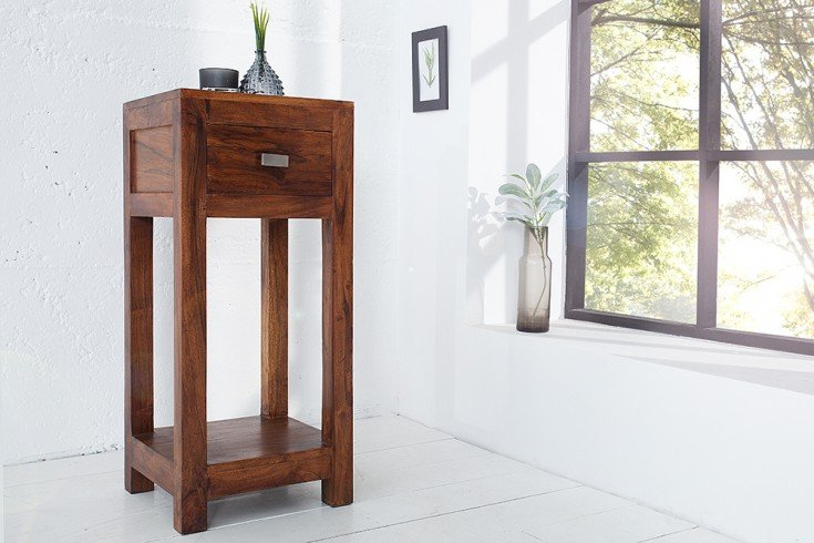 Massiver Design Beistelltisch MONSOON 30cm Telefontisch aus Akazie Markant Finish
