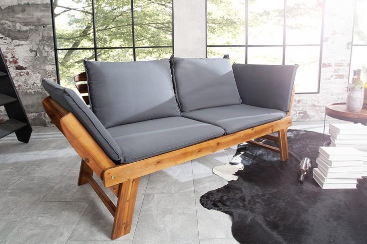 Massive Outdoor Sitzbank MODULAR 152cm Akazie inkl. Kissen klappbar