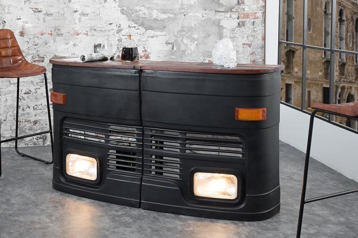 Hausbar Original halbe LKW Front rechts matt schwarz 81cm inkl. Lichtanlage Oldtimer