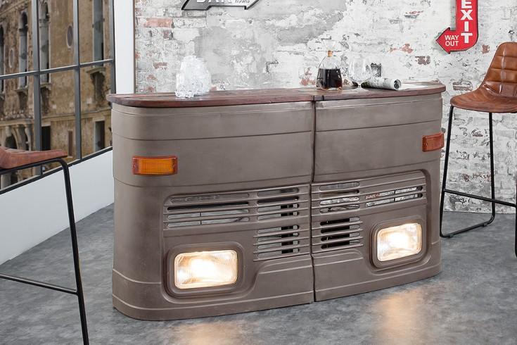 Oldtimer Hausbar 81cm grau original halbe LKW Front linke Seite inkl. Lichtanlage
