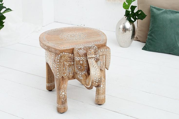 Einzigartiger Hocker Elefant MAURITIUS 50cm natur orientalisches Design