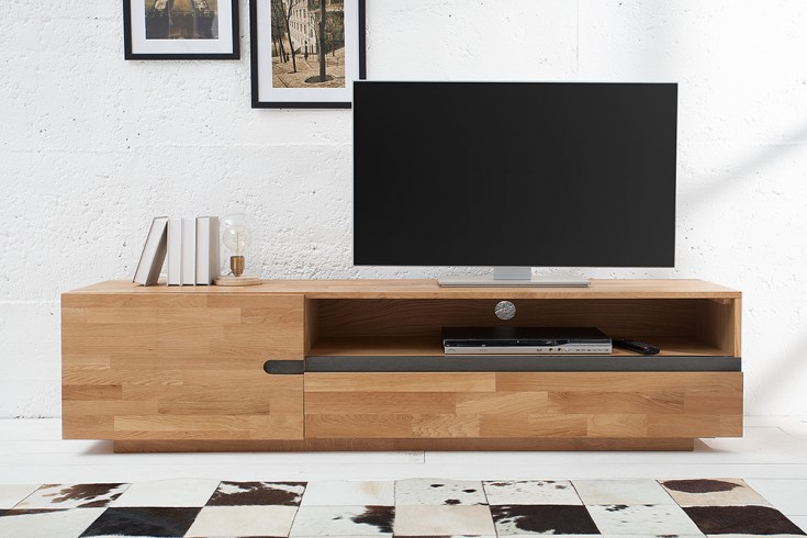 Massives TV-Board WOTAN 170cm Eiche geölt Lowboard keilverzinkte Oberfläche