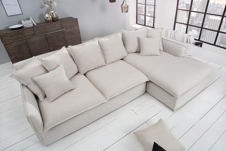 Großes Ecksofa HEAVEN 255cm Leinenstoff in Natur Leinen Couch