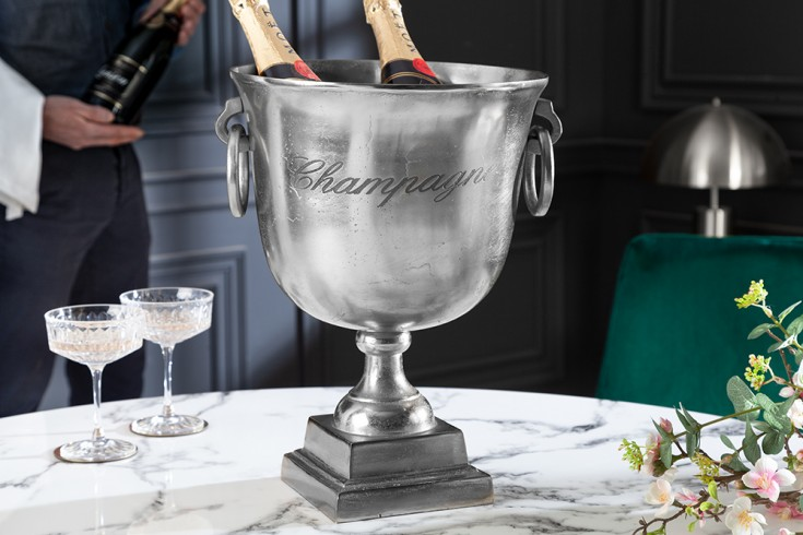 Eleganter Champagner Kühler 40cm silber Flaschenkühler