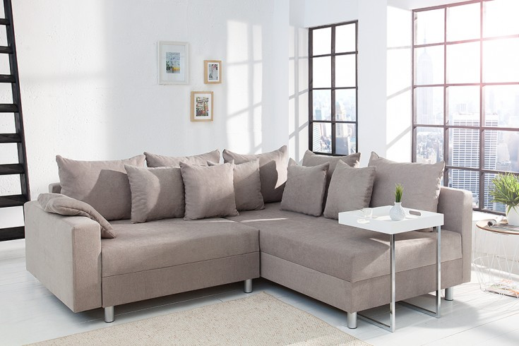 Design Ecksofa LOFT greige Soft Baumwolle Federkern Sofa beidseitig aufbaubar