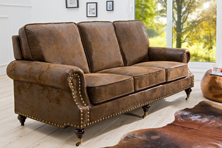 chesterfield sofa braun mit r dern riess. Black Bedroom Furniture Sets. Home Design Ideas