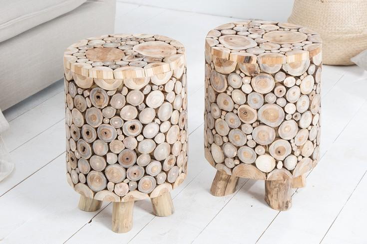 Massiver Teakholz Hocker MOSAIK 31cm runder Beistelltisch natur in Handarbeit gefertigt