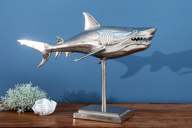 Design Deko Hai auf Standfuss 70cm hochwertige Metall-Aluminium-Legierung