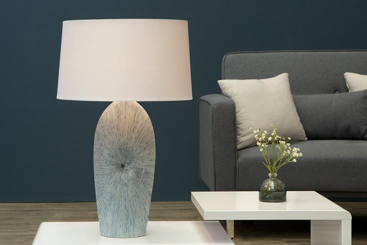 Filigrane Keramik Leuchte DREAM mit hochwertigem Leinenschirm 70cm