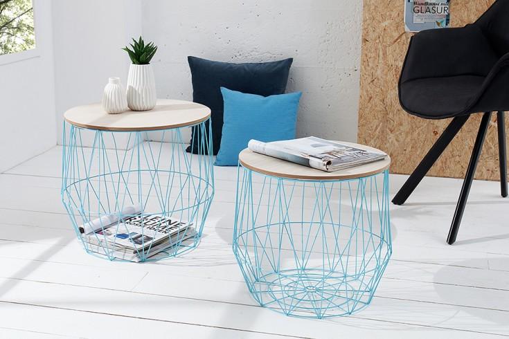 Design 2er Set Couchtisch STORAGE 50cm blau Eiche Aufbewahrungskorb Beistelltisch