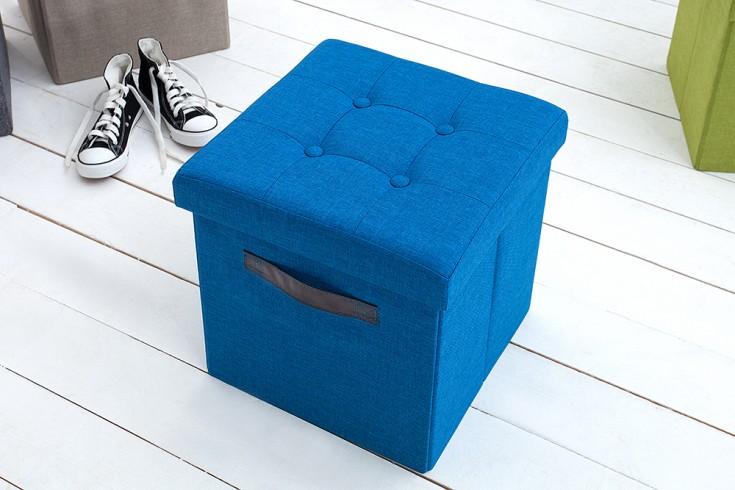 Vielseitiger Hocker KINGSTON blau Sitzwürfel Strukturstoff faltbar mit Knopfsteppung