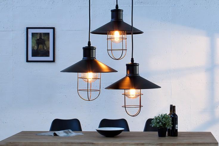 industrie h ngeleuchte factory schwarz mit drei schirmen h henverstellbar riess. Black Bedroom Furniture Sets. Home Design Ideas