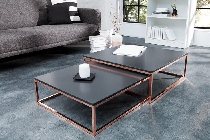 Design Couchtisch 2er Set BIG FUSION anthrazit kupfer