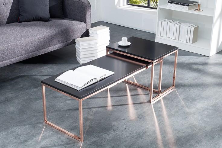 2er set couchtisch nobile schwarz matt kupfer riess. Black Bedroom Furniture Sets. Home Design Ideas