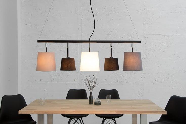 Moderne Hängeleuchte LEVELS 100cm schwarz grau weiß Pendelleuchte Leinen Design by KARE