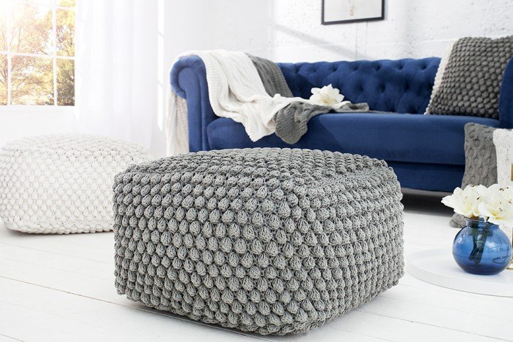 design sitzhocker pouf grau 55cm riess. Black Bedroom Furniture Sets. Home Design Ideas