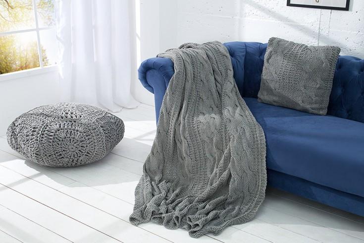 Design Strick Decke COSY II 130x170cm grau Plaid Überwurf aus Baumwolle
