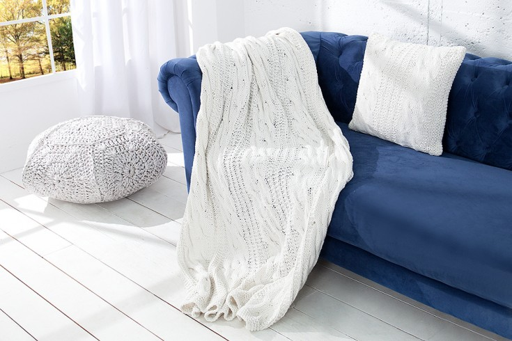 Design Strick Decke COSY II 130x170cm weiß Plaid Überwurf aus Baumwolle