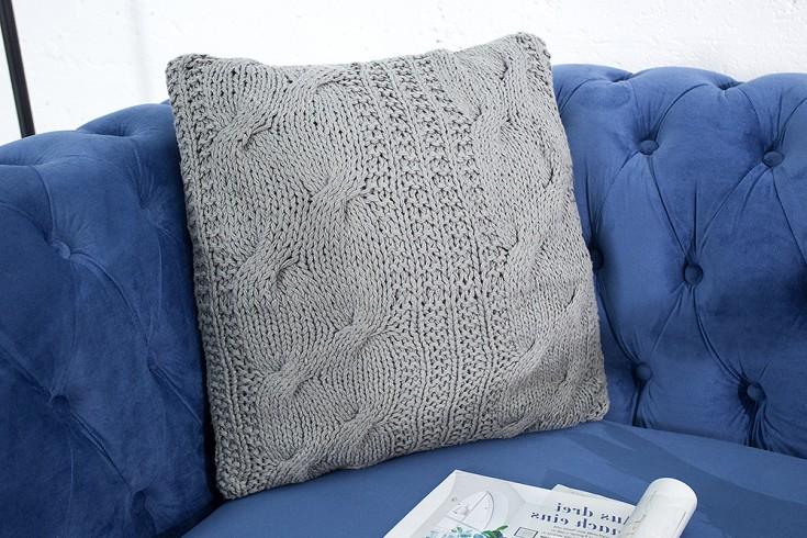 Handgearbeitetes Strick Kissen COSY II 45x45cm grau Baumwolle Zierkissen