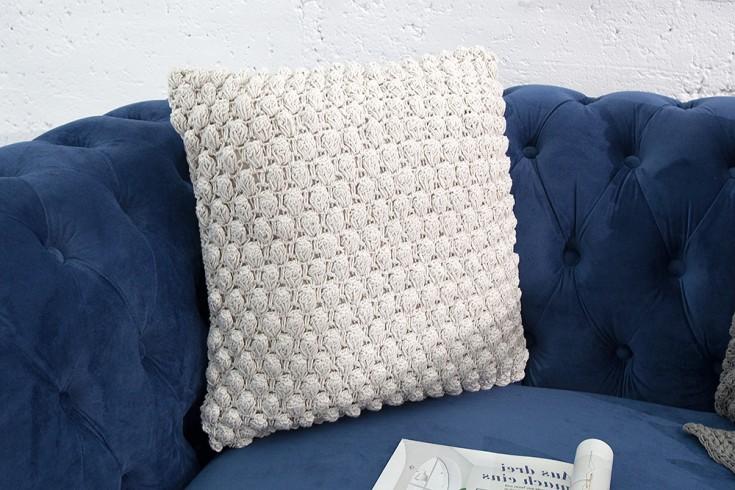 Handgearbeitetes Strick Kissen COSY I 45x45cm weiß Zierkissen
