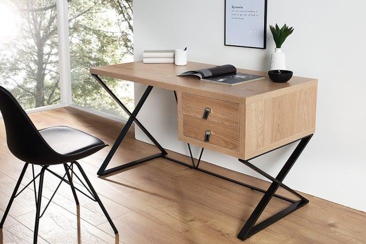 Exklusiver Design Schreibtisch HERITAGE Eiche 2 Schubladen mit Edelstahl-Leder Applikationen