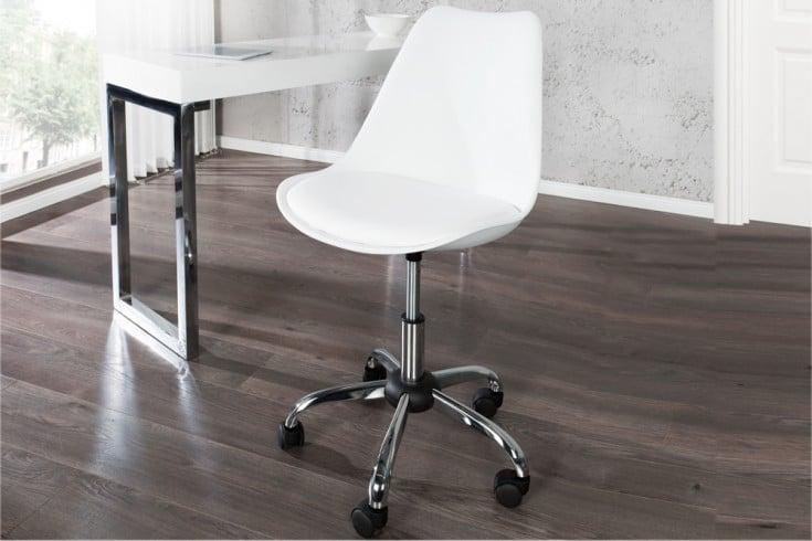 Retro Designklassiker Bürostuhl SCANDINAVIA MEISTERSTÜCK weiß Stuhl mit hochwertig verchromten Stuhlgestell und Rollen