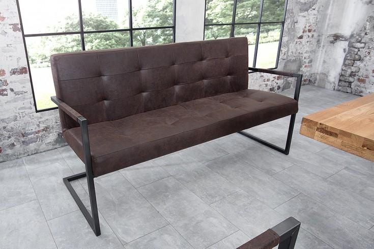 Industrial Sitzbank RIDER vintage braun Eisengestell mit Armlehne