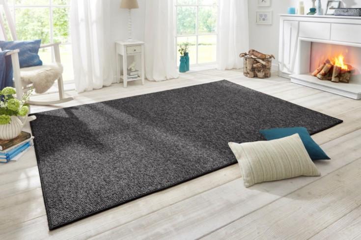 Design Teppich WOOL 200cm anthrazit Woll-Optik
