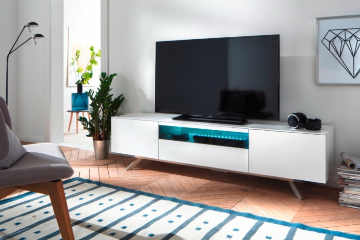 Modernes TV-Board LENIA 185cm weiß inkl. LED Beleuchtung Lowboard