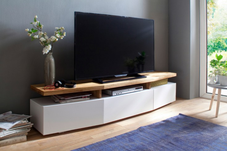 Design TV-Lowboard SOPHIE 180 cm edelmatt weiß Asteiche massiv