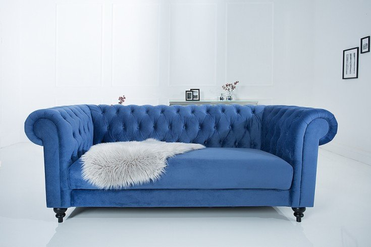 edles sofa chesterfield 200cm blau mit ziersteppung samt riess. Black Bedroom Furniture Sets. Home Design Ideas