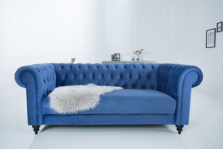 Edles Sofa Chesterfield 200cm Blau Mit Ziersteppung Samt Riess
