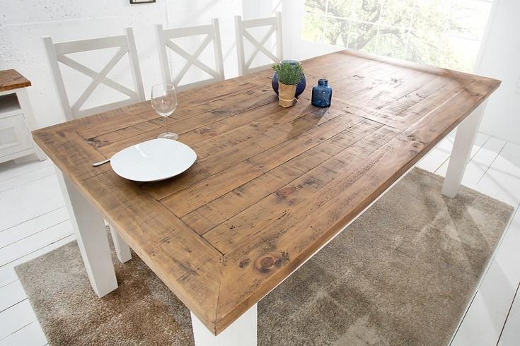 landhaus stil esstisch 4 fu tisch byron 200cm pinienholz wei vintage braun riess. Black Bedroom Furniture Sets. Home Design Ideas