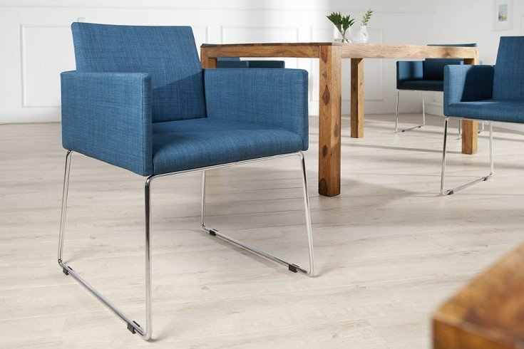 eleganter design stuhl livorno strukturstoff blau