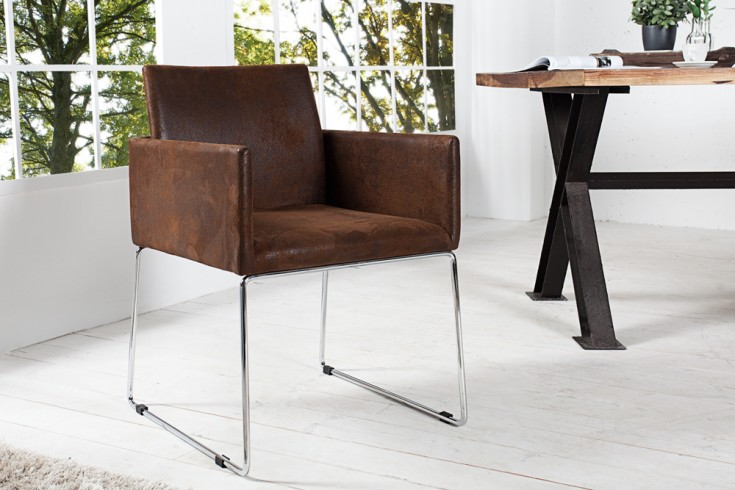Eleganter Design Stuhl LIVORNO Mikrofaser Antik coffee Konferenzstuhl mit Armlehne