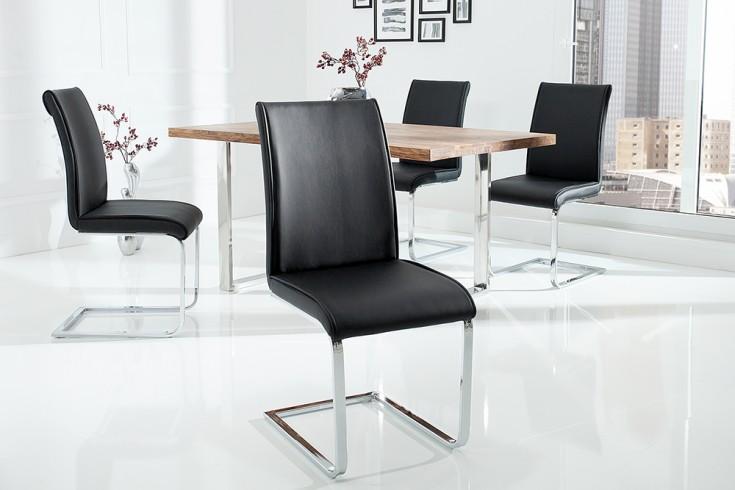 Moderner Design Schwinger Stuhl ELEGANCE schwarz mit Chromgestell