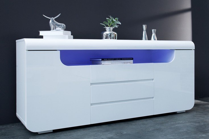 Modernes Sideboard CUBE AMBIENCE 150cm weiß Hochglanz mit LED Beleuchtung