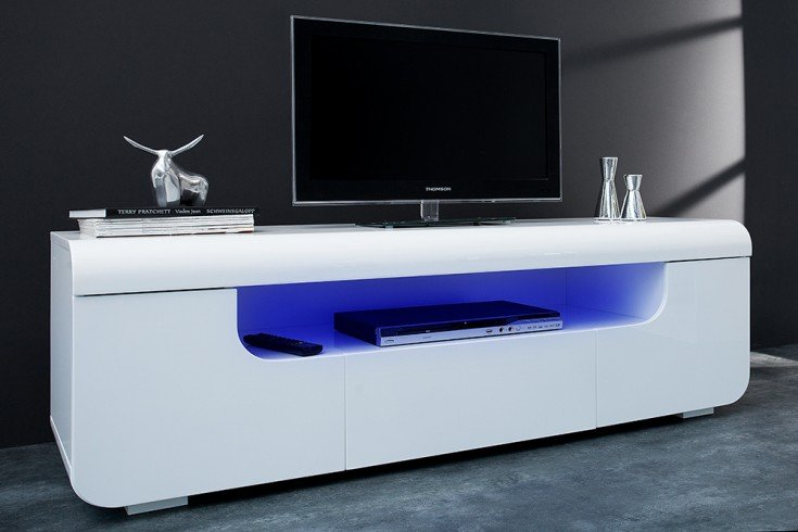 Modernes TV Lowboard CUBE AMBIENCE 150cm Hochglanz weiß mit LED Beleuchtung