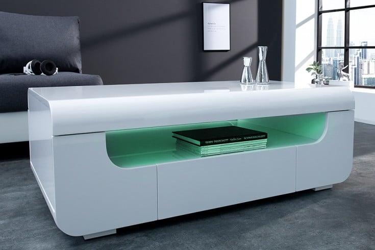 Hochglanz Couchtisch weiß mit LED | Riess-Ambiente.de