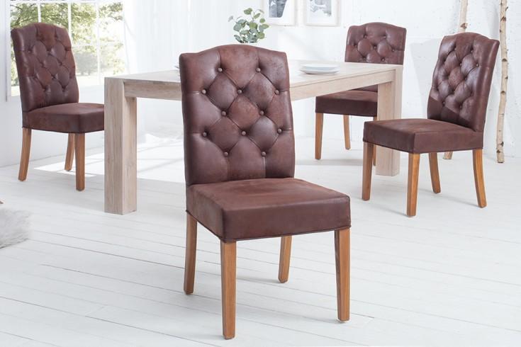 Eleganter Stuhl CASTLE coffee mit Chesterfield Steppung im Landhausstil